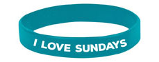 """I Love Sundays"" Wristbands"