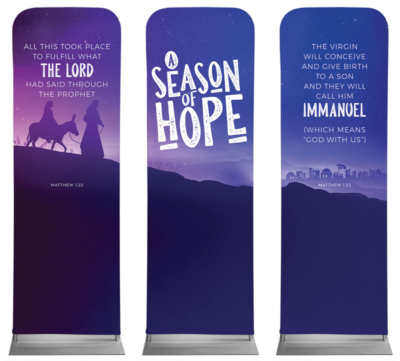Banners, Christmas, A Season Of Hope Purple Triptych, 2' x 6'