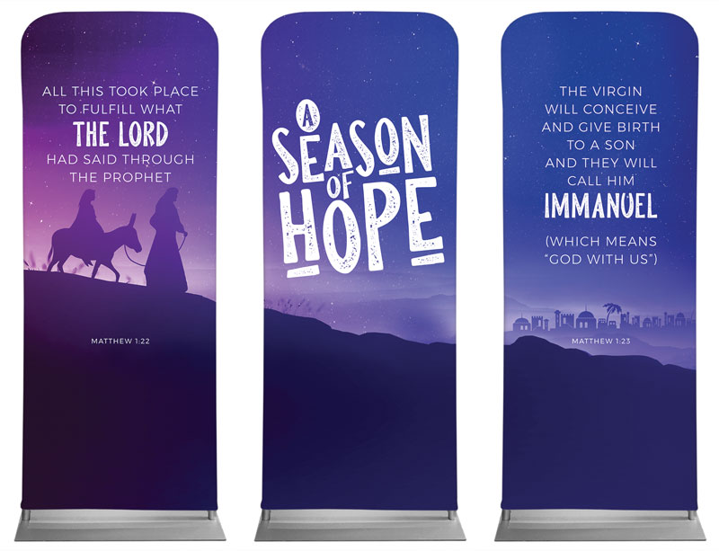 Banners, Christmas, A Season Of Hope Purple Triptych, 2'7 x 6'7