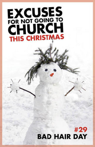 Church Postcards, Christmas, Excuses Bad Hair Day, 5.5 X 8.5