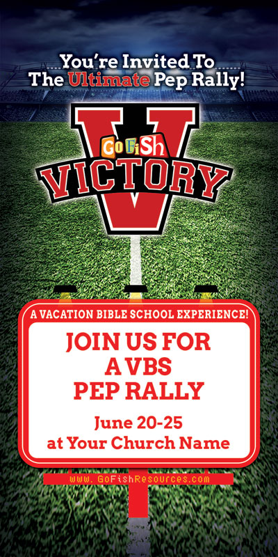 Church Postcards, VBS / Camp, Go Fish Victory, 5.5 x 11