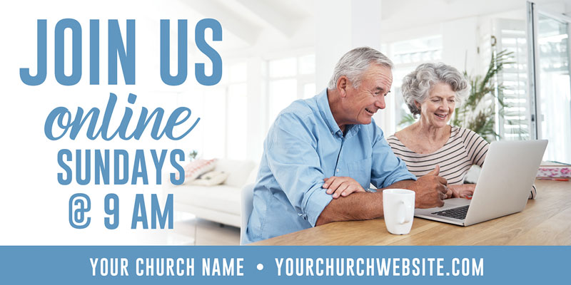 Church Postcards, You're Invited, Online Livingroom, 5.5 x 11