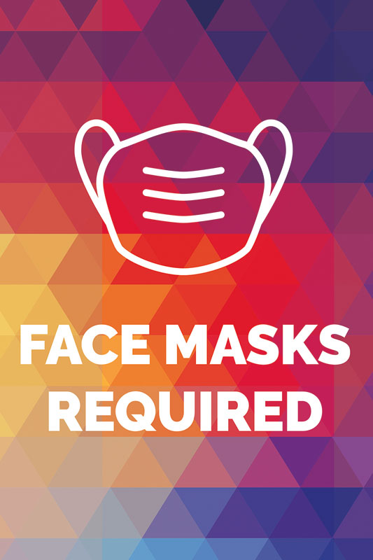 Posters, Welcome Back, Geometric Bold Face Masks Required, 12 x 18