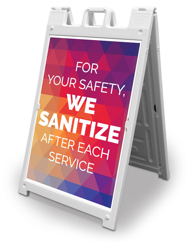 Banners, Welcome Back, Geometric Bold We Sanitize, 2' x 3'
