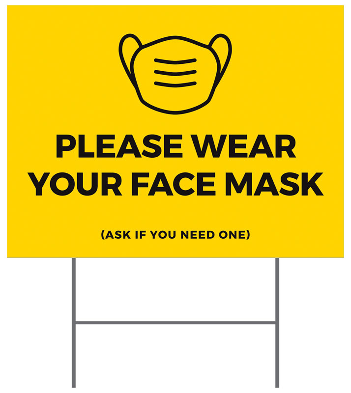Yard Signs, Yellow Face Mask, 18 x 24
