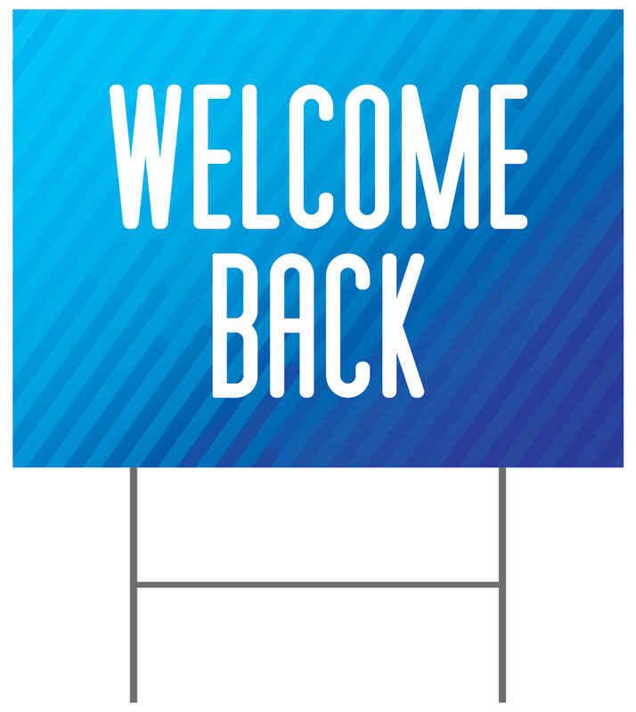 Yard Signs, Welcome Back, Retro Geo Blue Welcome Back, 18 x 24